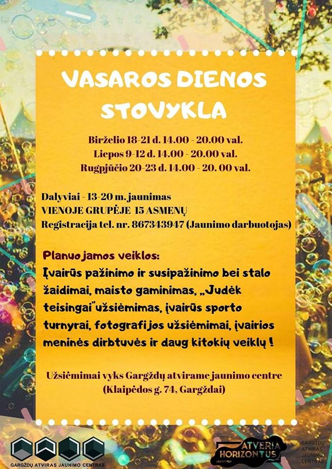 Kviečiame registruotis į dienos stovyklą Gargždų atvirame jaunimo centre.