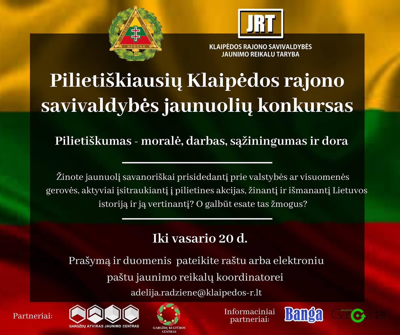 Sudalyvauk pilietiškiausių Klaipėdos rajono savivaldybės jaunuolių konkurse!